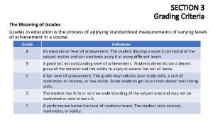 SECTION 3 Grading Criteria The Meaning of Grades