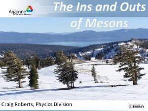 The Ins and Outs of Mesons Craig Roberts