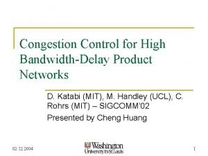Congestion Control for High BandwidthDelay Product Networks D