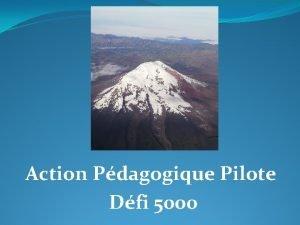 Action Pdagogique Pilote Dfi 5000 Prambule le dfi