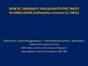GENETIC VARIABILITY FOR QUANTITATIVE TRAITS IN CHINA ASTER