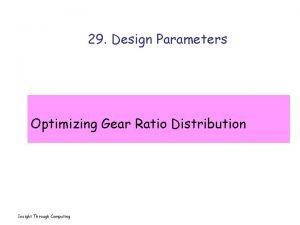 29 Design Parameters Optimizing Gear Ratio Distribution Insight