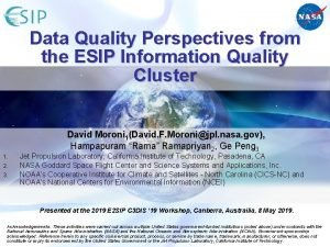 Data Quality Perspectives from the ESIP Information Quality
