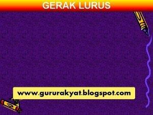 GERAK LURUS www gururakyat blogspot com GERAK LURUS