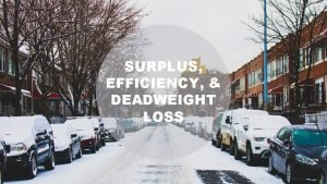 SURPLUS EFFICIENCY DEADWEIGHT LOSS SURPLUS EFFICIENCY AND DEADWEIGHT