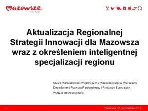 Aktualizacja Regionalnej Strategii Innowacji dla Mazowsza wraz z