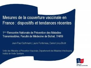 Mesures de la couverture vaccinale en France dispositifs