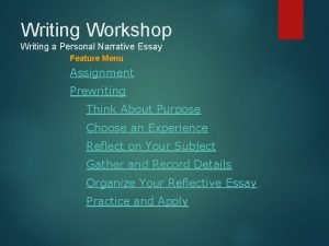 Writing Workshop Writing a Personal Narrative Essay Feature