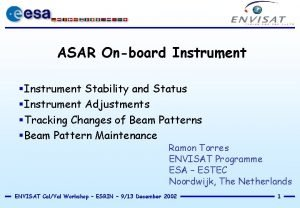 ASAR Onboard Instrument Instrument Stability and Status Instrument