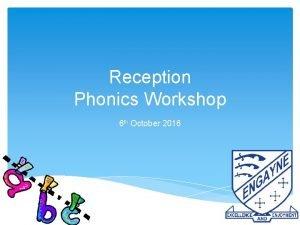 Reception Phonics Workshop 6 th October 2016 Phonics