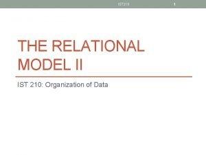 IST 210 THE RELATIONAL MODEL II IST 210