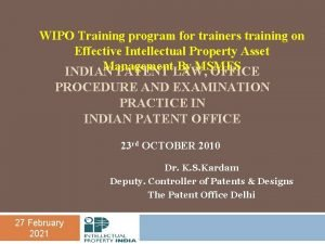WIPO Training program for trainers training on Effective