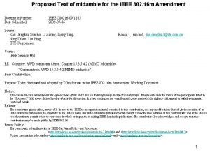 Proposed Text of midamble for the IEEE 802