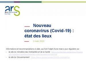 Nouveau coronavirus Covid19 tat des lieux 3 mars
