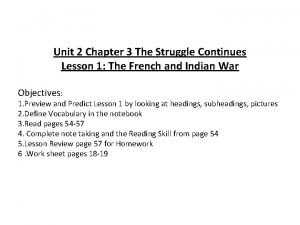 Unit 2 Chapter 3 The Struggle Continues Lesson