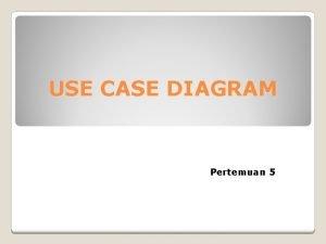 USE CASE DIAGRAM Pertemuan 5 Diagram Use Case