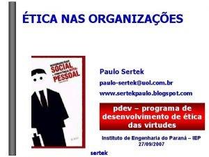 TICA NAS ORGANIZAES Paulo Sertek paulosertekuol com br