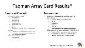 Taqman Array Card Results Cases and Contacts Cases