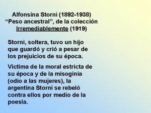 Alfonsina Storni 1892 1938 Peso ancestral de la