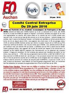 Auchan 29 juin 2016 Comit Central Entreprise Du