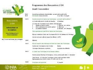Programme des Rencontres 2014 Jeudi 6 novembre 9