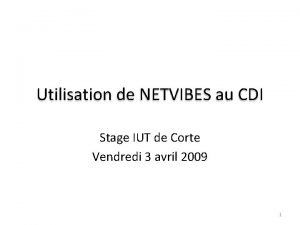 Utilisation de NETVIBES au CDI Stage IUT de