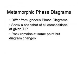 Metamorphic Phase Diagrams Differ from Igneous Phase Diagrams