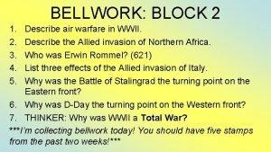 BELLWORK BLOCK 2 1 2 3 4 5