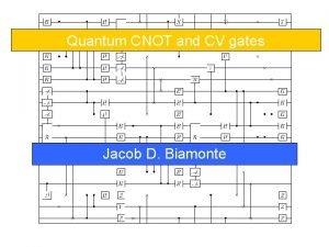 Quantum CNOT and CV gates Jacob D Biamonte