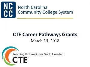 North Carolina Community College System CTE Career Pathways