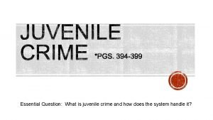 Essential Question What is juvenile crime and how
