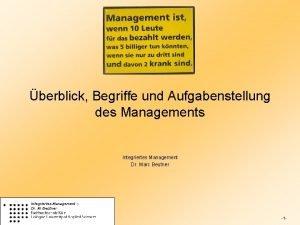 berblick Begriffe und Aufgabenstellung des Managements Integriertes Management