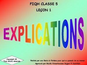 FIQH CLASSE 5 LEON 1 Copyright Tous droits