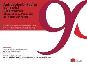 Antropologia medica della crisi Una prospettiva etnografica sullerosione