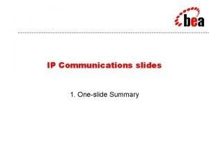 BEA Customer IP Communications Problem Streamline business processes