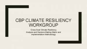 CBP CLIMATE RESILIENCY WORKGROUP CrossGoal Climate Resiliency Analysis