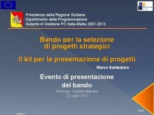 Presidenza della Regione Siciliana Dipartimento della Programmazione Autorit