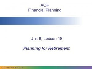 AOF Financial Planning Unit 6 Lesson 18 Planning