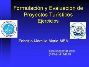 Formulacin y Evaluacin de Proyectos Tursticos Ejercicios Fabrizio