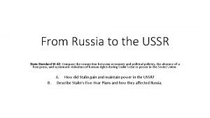 From Russia to the USSR State Standard W