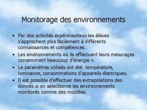 Monitorage des environnements Par des activits exprimentaux les