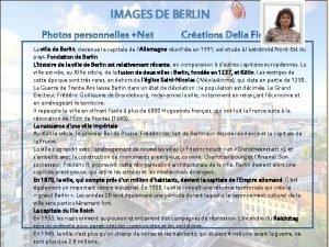 IMAGES DE BERLIN La ville de Berlin devenue