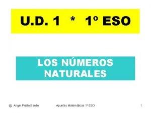 U D 1 1 ESO LOS NMEROS NATURALES