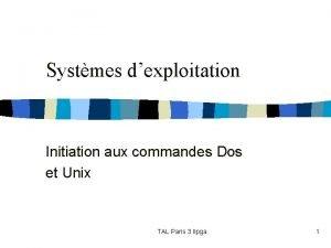 Systmes dexploitation Initiation aux commandes Dos et Unix