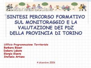SINTESI PERCORSO FORMATIVO SUL MONITORAGGIO E LA VALUTAZIONE