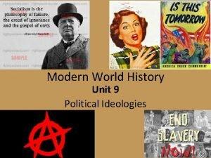 Modern World History Unit 9 Political Ideologies Political