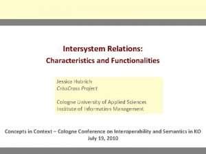 Intersystem Relations Characteristics and Functionalities Jessica Hubrich Criss