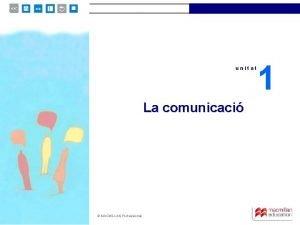 unitat 1 unitat La comunicaci MACMILLAN Professional 1