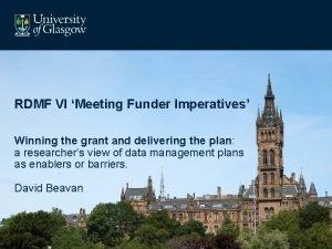 RDMF VI Meeting Funder Imperatives Winning the grant