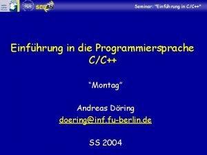 Seminar Einfhrung in CC Einfhrung in die Programmiersprache
